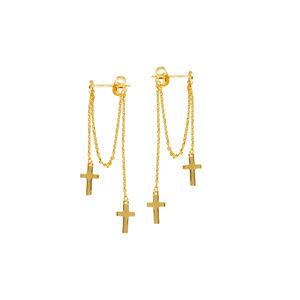14K Solid Gold Dangle Double Cross Post Earrings